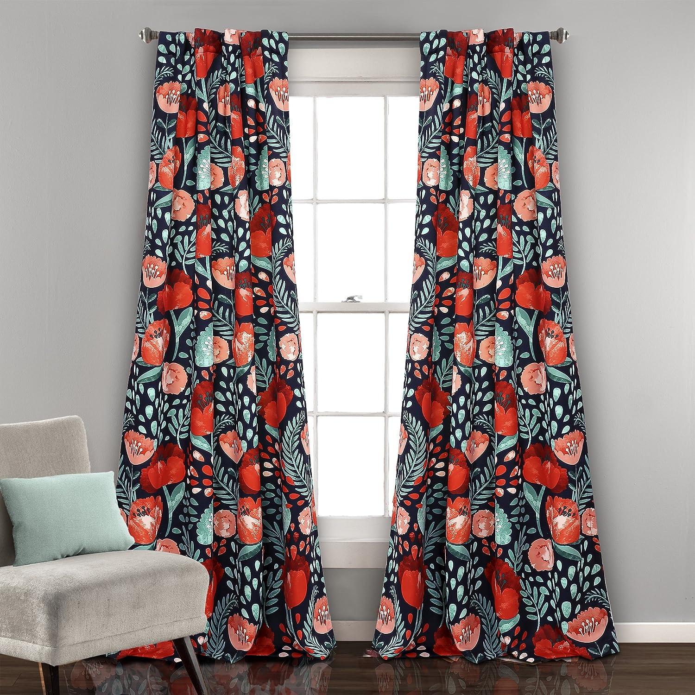 "Lush Decor Poppy Garden Curtains Room Darkening Window Panel Set for Living, Dining, Bedroom (Pair), 84"" x 52"", Navy"