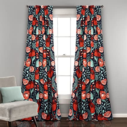 Lush Decor Poppy Garden Window Curtain Panel Pair, 0, Navy