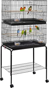 YAHEETECH 65-inch Stackable Flight Parrot Bird Cages for Finch Budgie Cockatiel Parakeet Conure Lovebird Canary Breeder Birdcage w/Rolling Stand, Black
