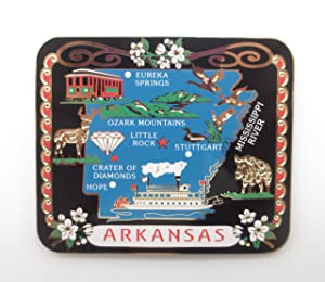 Nations Treasures Arkansas State Brass Landmarks Magnet Souvenir Travel Gift