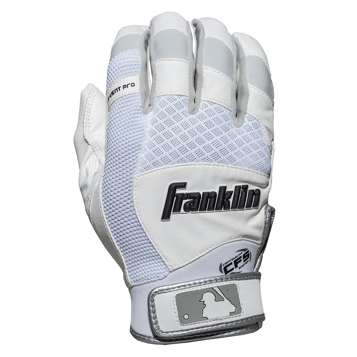 Franklin Sports MLB X-Vent プロバッティンググローブ ペア B075NTF8DV Youth Medium|White/ White White/ White Youth Medium