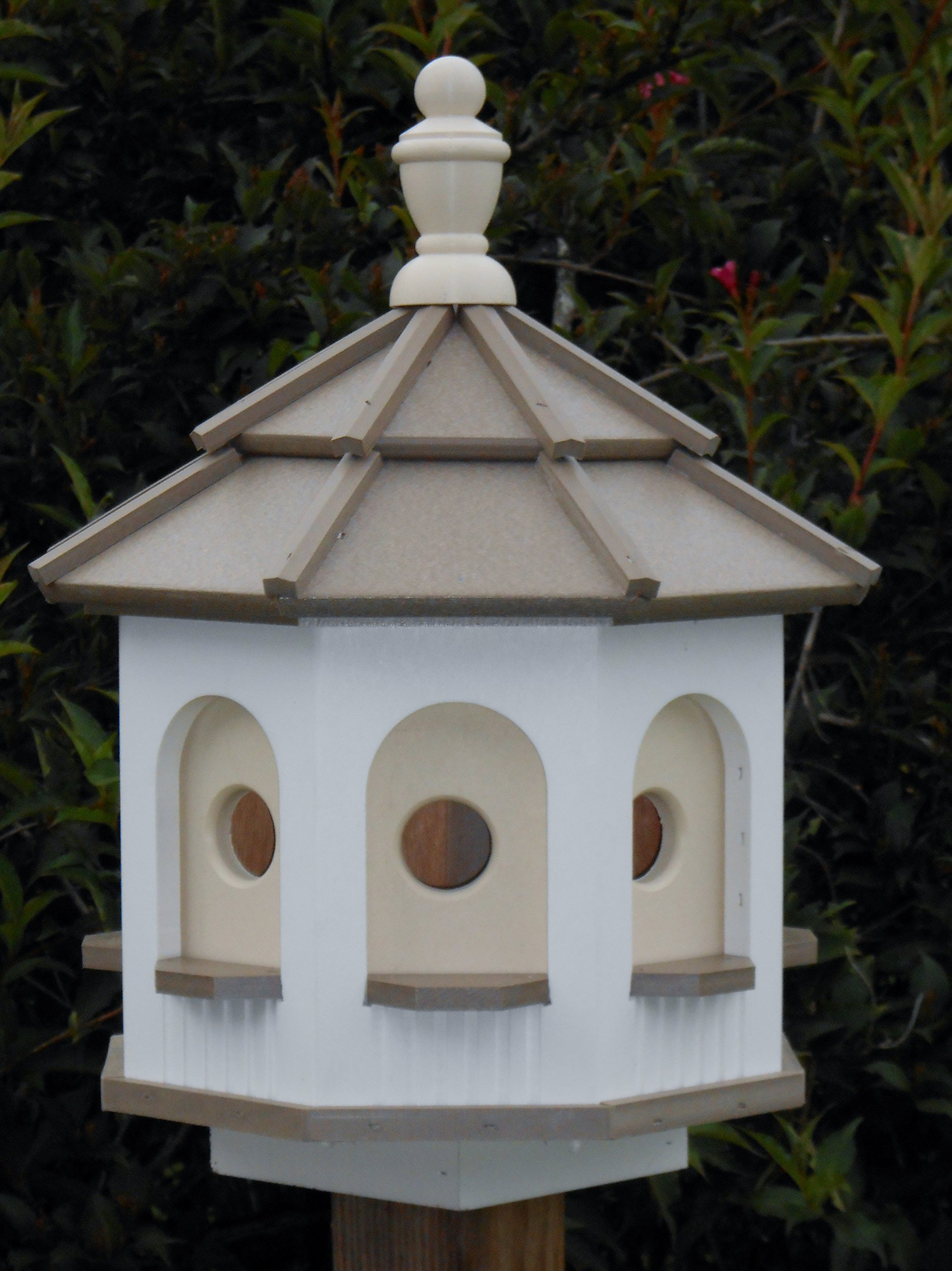 Medium Vinyl Birdhouse Amish Homemade Handmade Handcrafted White & Clay