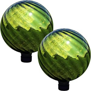 Sunnydaze Green Rippled Gazing Globe Glass Garden Ball, Outdoor Lawn and Yard Ornament, Reflective Mirrored Surface, 10-inch, Set of 2