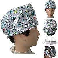 Cappellino da dentista Odontoiatria intrumentale. per i capelli corti. Con assorbente sul lato anteriore e tenditore regolabile facile e confortevole