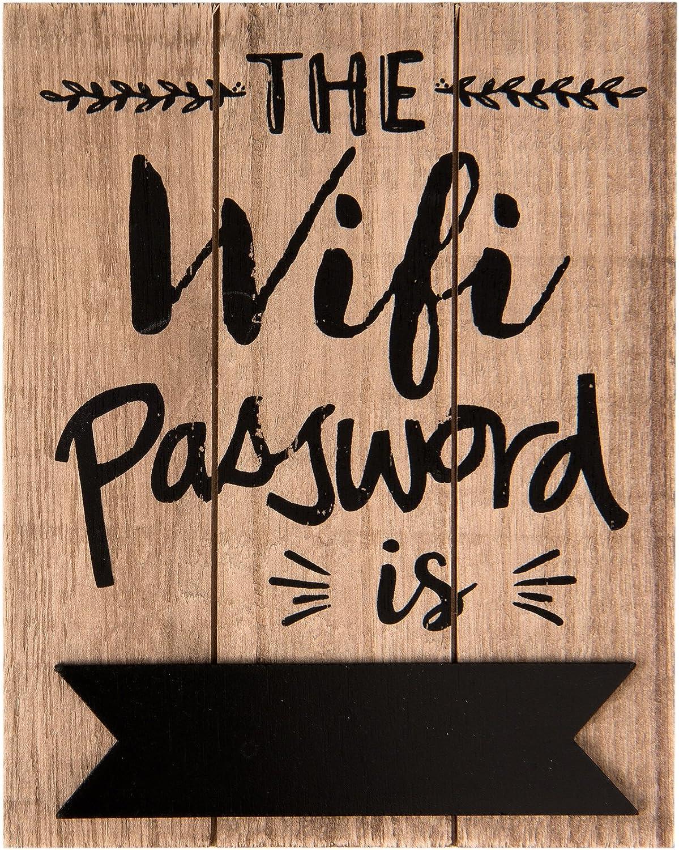 C&E - Cartel vintage retro con contraseña WiFi, modelo The WiFi Password is, material de madera, tamaño 20 x 16 cm, madera clara con tablero de pizarra, ideal para bar, cafetería, cafetería,
