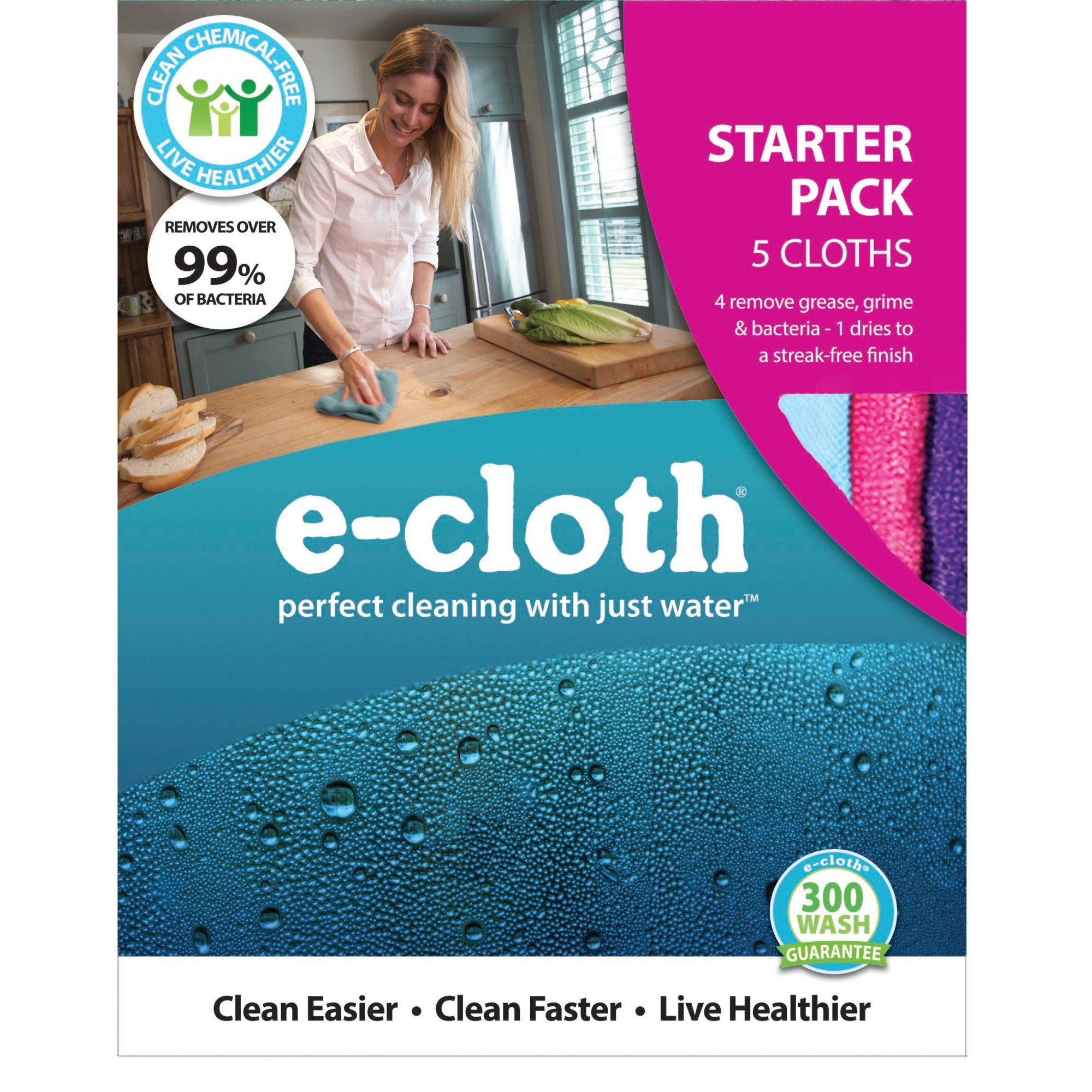 E-Cloth Home Cleaning Starter Pack for Chemical-Free Cleaning with Just Water - 5 Cloth Set