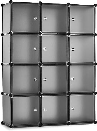 Meerveil Armario, Armario Portatil Armario Modular Tablero de Resina 12 Cubos con Puerta Almacenamiento para Ropa Libro Jugete 111x37x147 cm Gris Claro: Amazon.es: Hogar