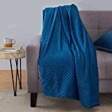 """Amazon Basics Weighted Blanket with Minky Duvet Cover - 15lb, 48x72"""", Navy/Grey"""
