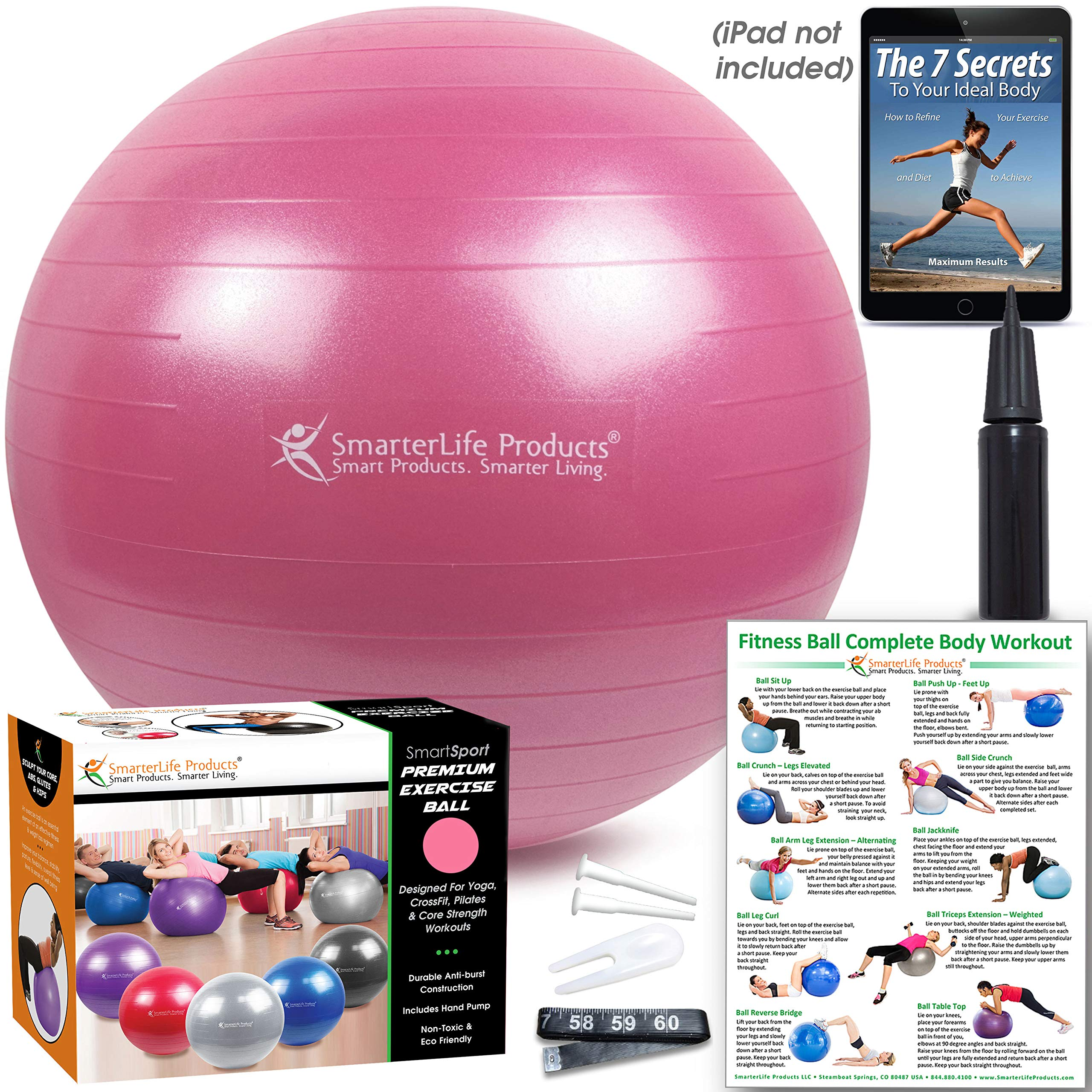 Exercise Ball for Yoga, Balance, Stability from SmarterLife - Fitness, Pilates, Birthing, Therapy, Office Ball Chair, Classroom Flexible Seating - Anti Burst, No Slip, Workout Guide (Pink, 65 cm) by SmarterLife Products (Image #5)
