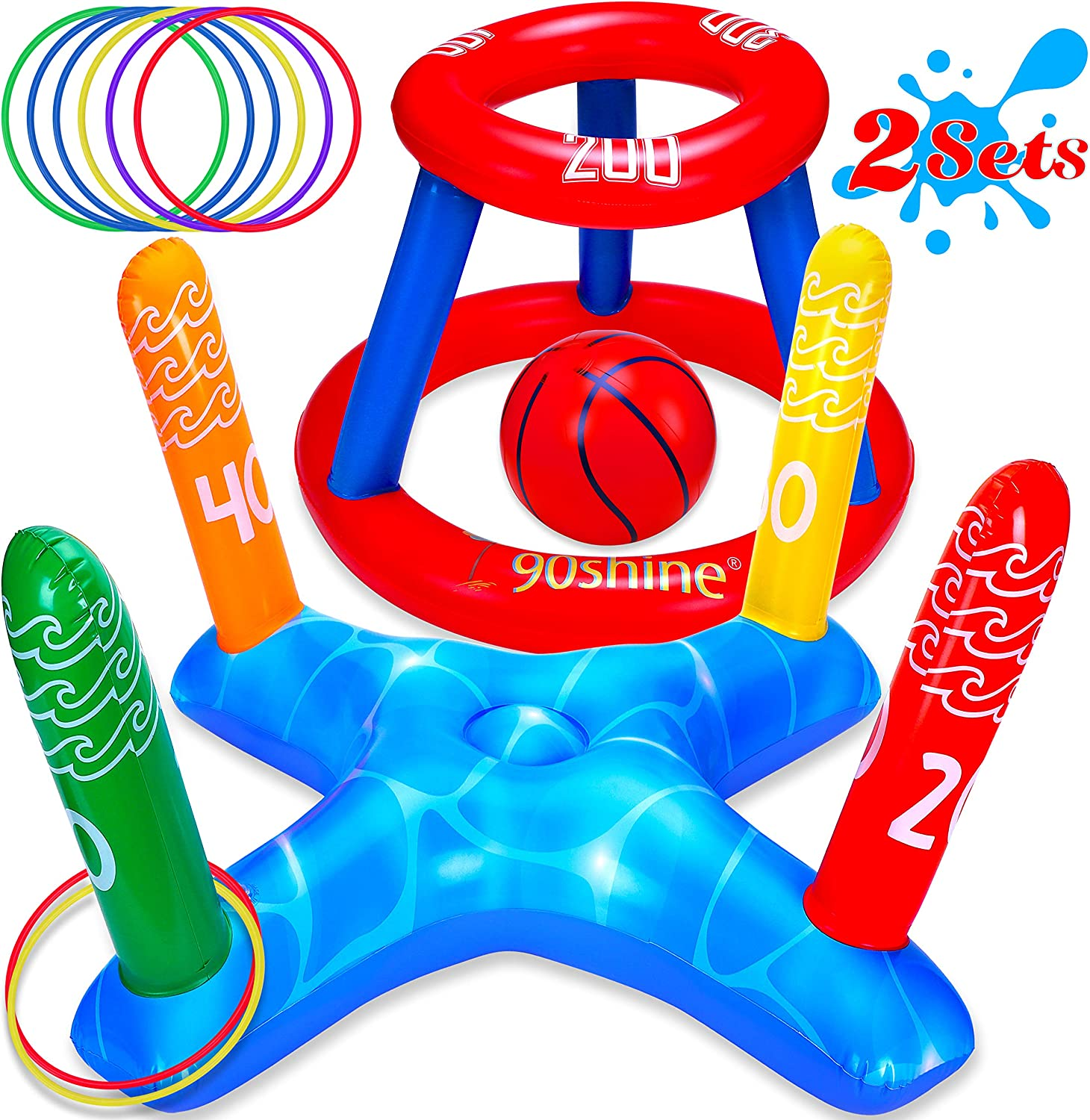 90shine Pool Toys Games Set - Floating Basketball Hoop&Inflatable Ring Toss for Kids Adults Family Swimming Water Sport Fun Floats Accessories