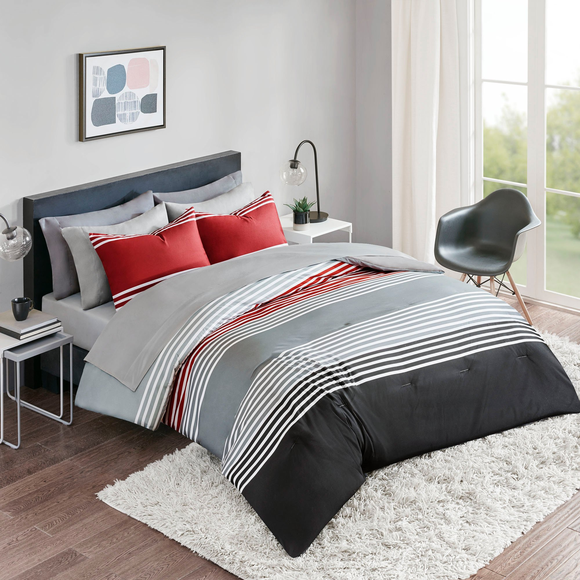 Bed In a Bag Twin Comforter Set with Sheets feat. Two Side Pockets - Colin 6 Piece All Season Bedding Sets Twin Microfiber Printed Red/Grey Stripes