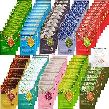 {Entel} 100 Pcs Combo-Pack, Premium Korean Essence Facial Mask Sheet (10 Types x 10 pcs), Five Chemical Free : No Paraben, No Silicon, No Mineral Oil, No Artificial Colors,No Ethanol