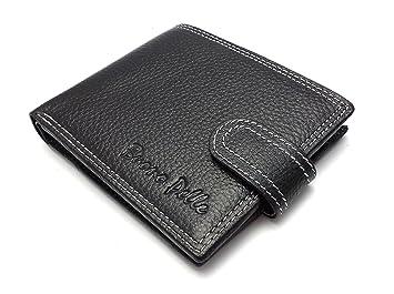 Diseñador BUONO PELLE Cartera de cuero real para hombre Tarjeta de crédito Titular Bifold Purse con caja de regalo: Amazon.es: Equipaje