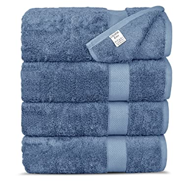Chakir Turkish Linens Luxury Ultra Bamboo 4-Piece Bath Towel Set - Soft, Absorbent and Eco-Friendly, Wedgewood