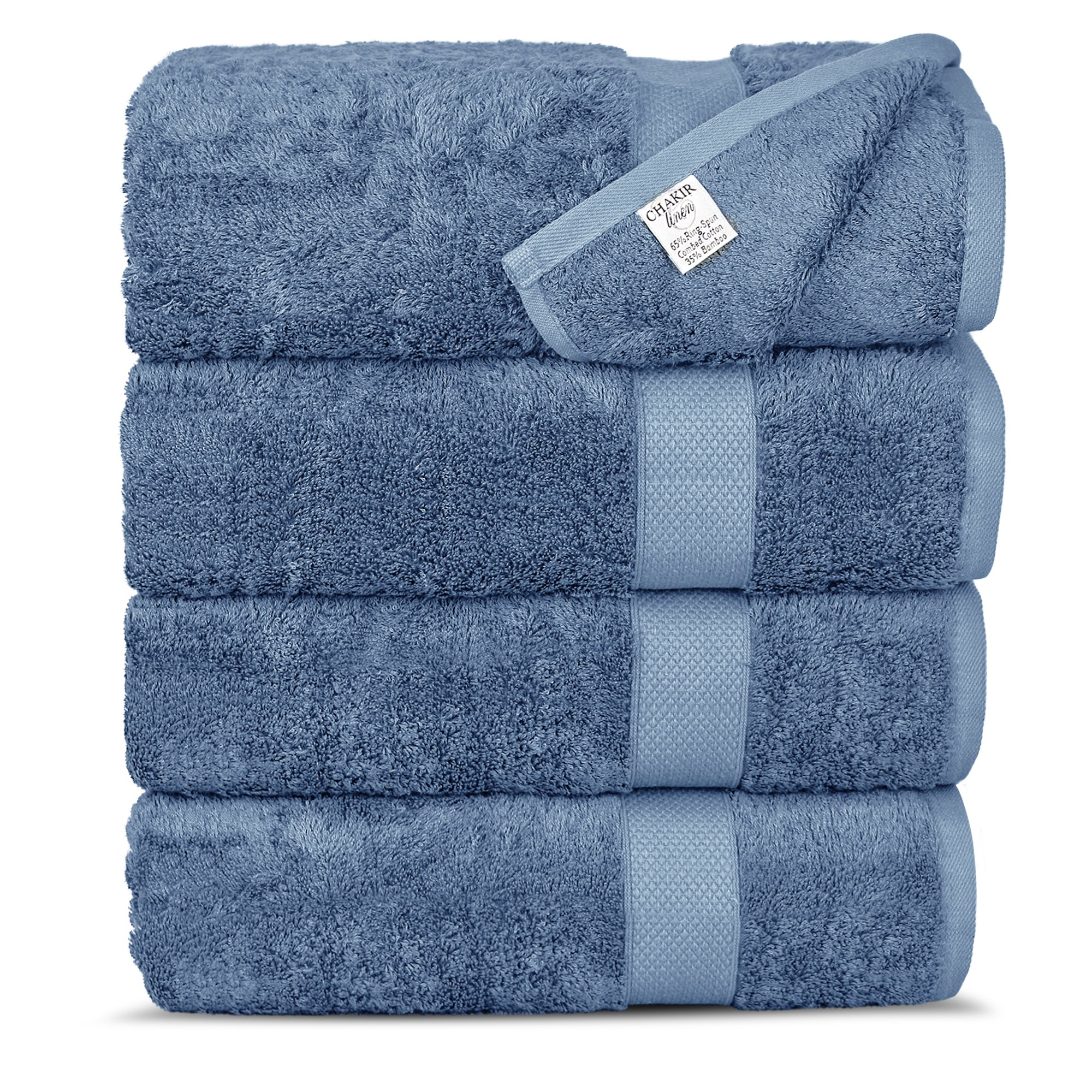Chakir Turkish Linens Luxury Ultra Soft Bamboo 4-Piece Bath Towel Set - Soft, Absorbent and Eco-Friendly (Wedgewood)