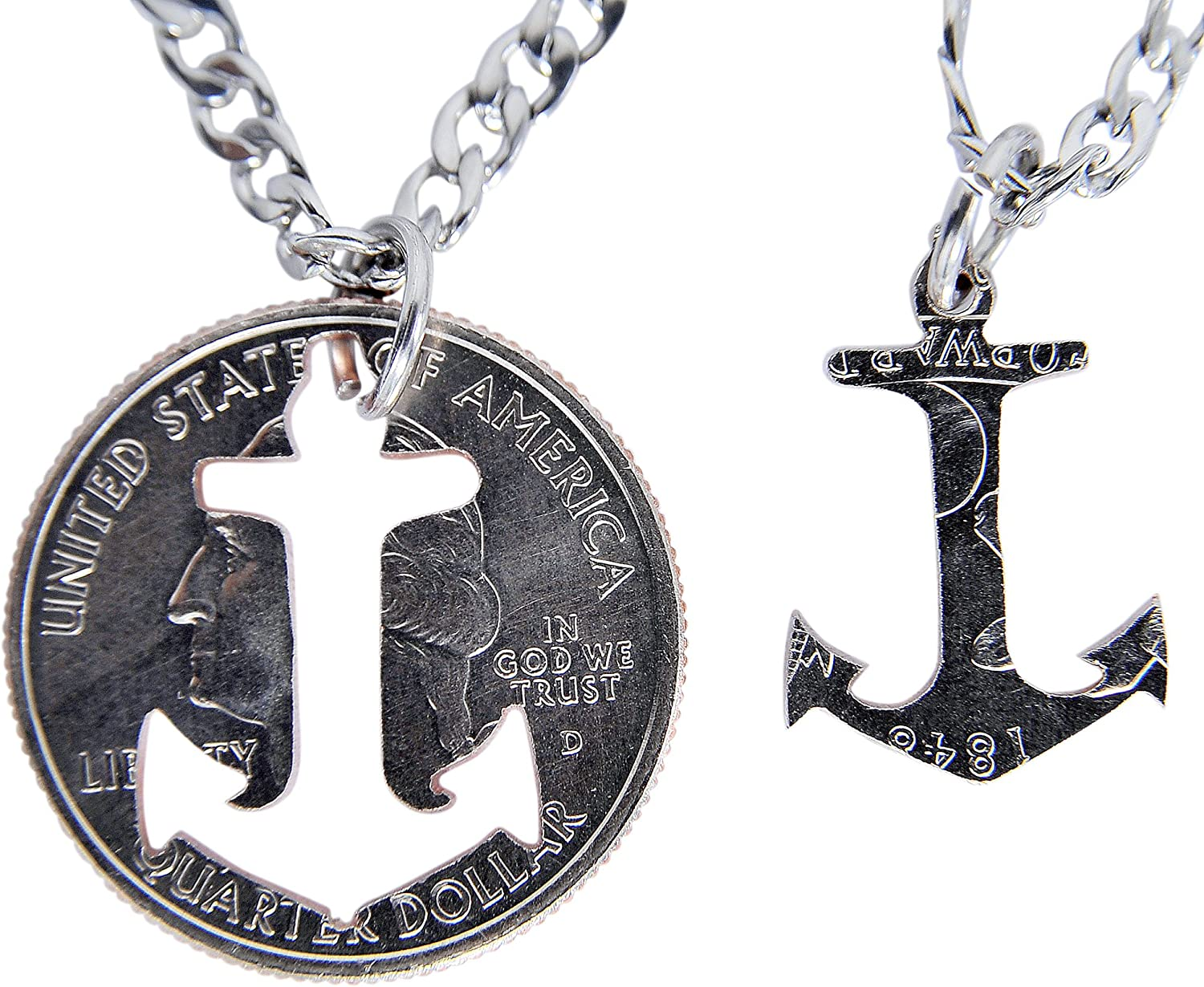 Marycrafts Set Hand Coin Cut Anchor Necklace Interlocking Necklace Jewelry Relationship BFF