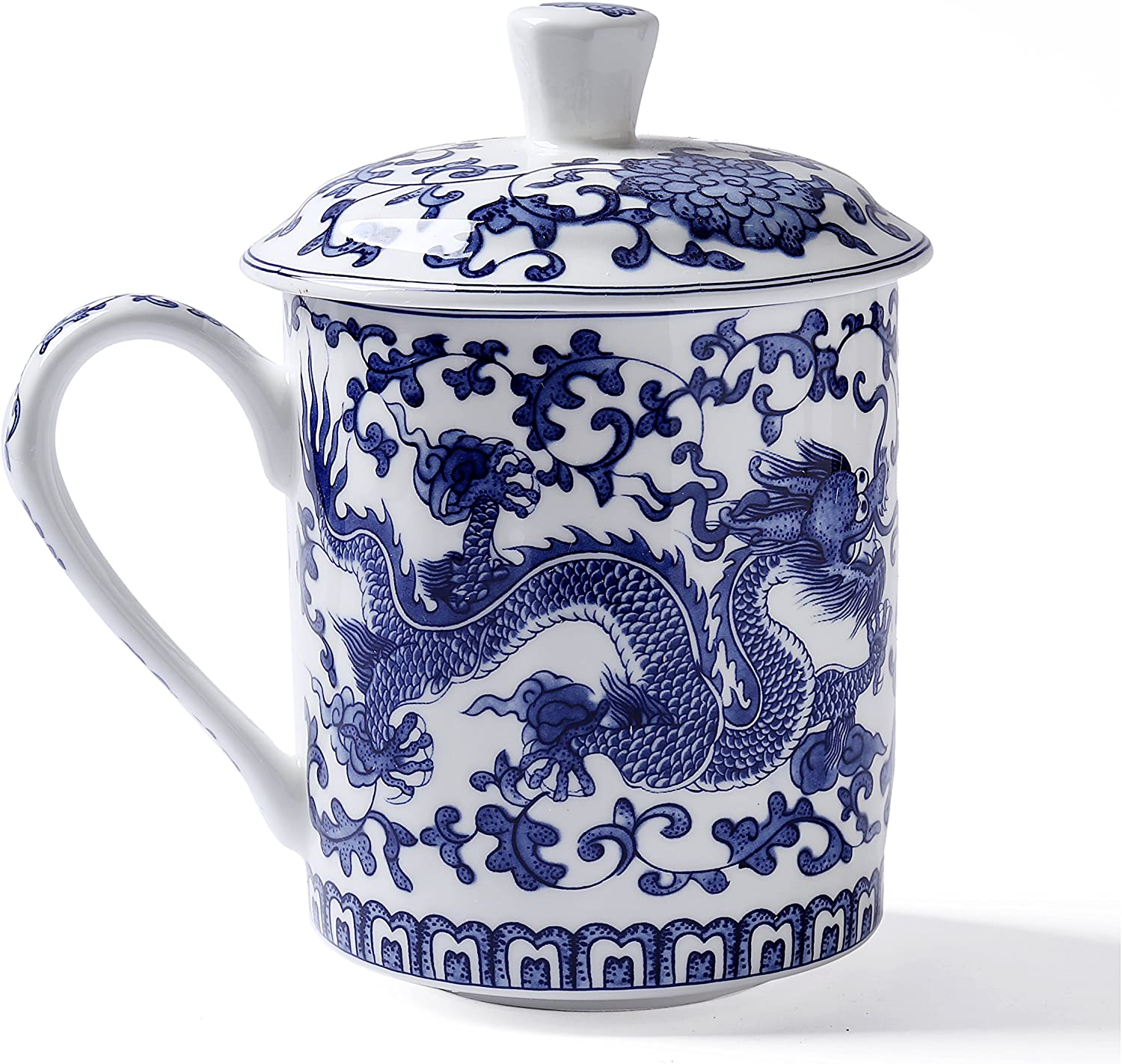 ufengke White and Blue Bone China Porcelain Tea Cup with Lid, Blue Dragon  Painting, Daddy Cups, Gift Cups, 6ml