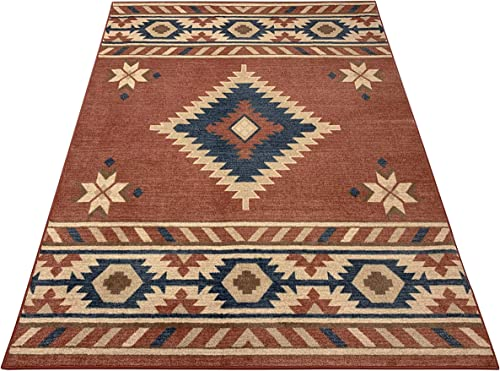 Nevita Collection Southwestern Native American Design Area Rug Southwest Design Rugs Geometric South West Pattern Orange Terra Blue Beige Red, 7 10 x 9 10