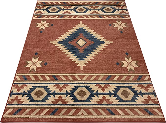 Nevita Collection Southwestern Native American Design Area Rug Southwest Design Rugs Geometric South West Pattern Orange Terra Blue Beige Red 5 3 X 7 1 Kitchen Dining Amazon Com