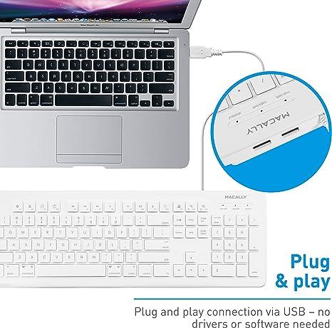 Macally MKEYXU2 - Teclado USB con 2 Puertos USB para Mac y PC