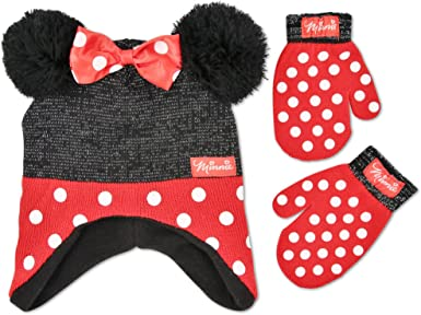 Age 2-5 Disney Toddler Girls Minnie Mouse Polka Dot Hat and Mitten Set Red//Black