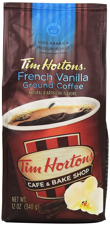 Tim Horton's 100% Arabica Medium Roast, French Vanilla, Ground Coffee, 12 Ounce