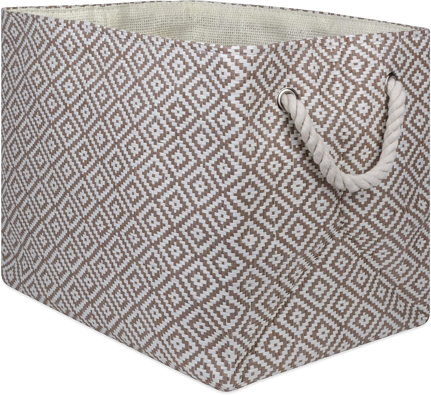 DII Geo Diamond Woven Paper Laundry Hamper or Storage Bin, Medium Rectangle, Stone