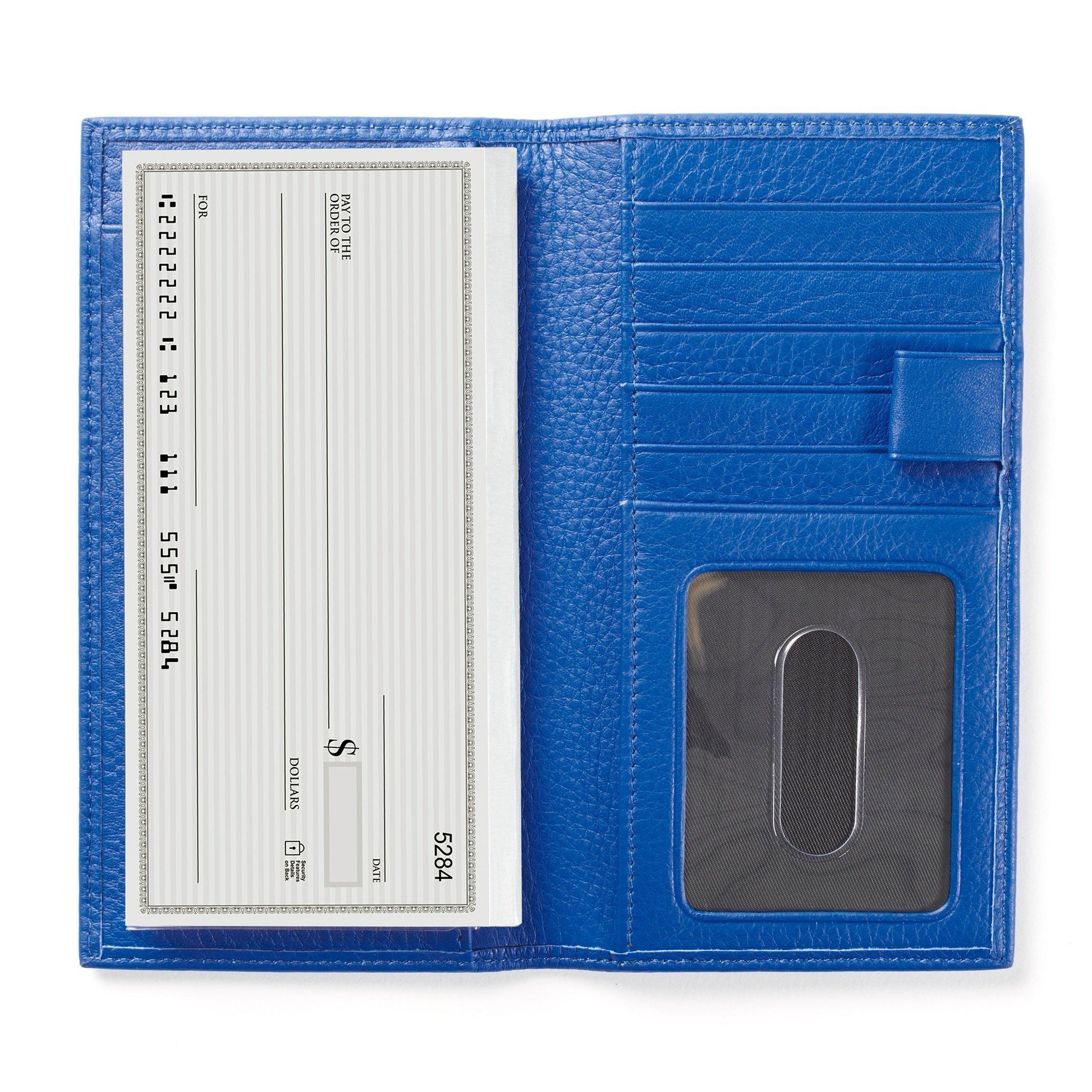 Leatherology Checkbook & Card Holder with Divider and Pen Loop - Full Grain Leather - Cobalt (blue)