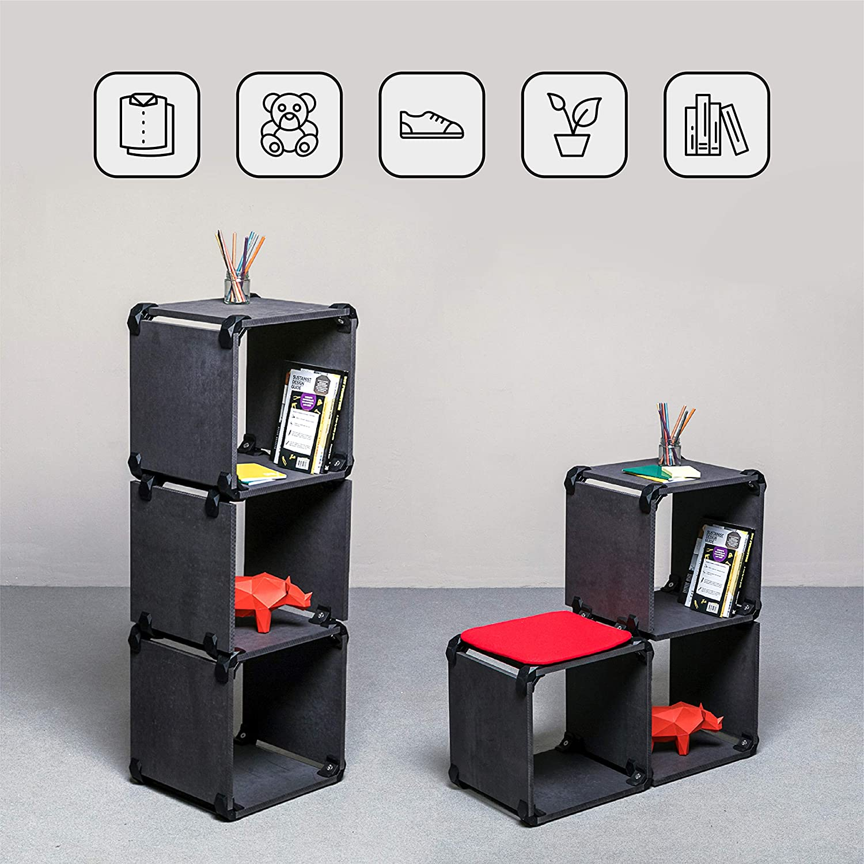 Organisateur Multifonctions en Bois MDF Noir avec 3 Tablettes Compactes PlayWood avec 24 Connecteurs Mesure 122x42x35cm Modulaire Blanc