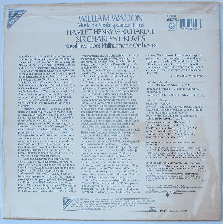 William Walton: Music for Shakespearean Films - Hamlet / Henry V / Richard  III Import, Digital Sound
