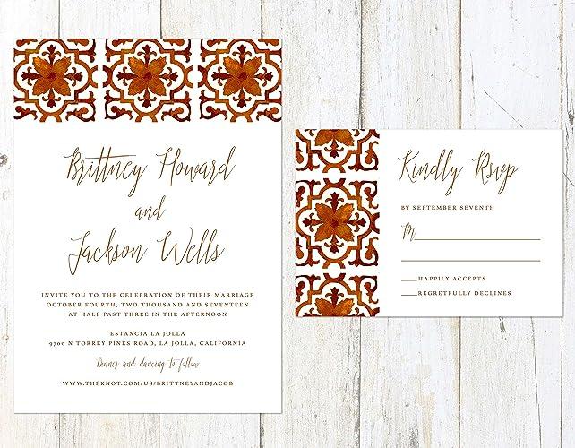 Amazon Spanish Tile Wedding Invitation Design