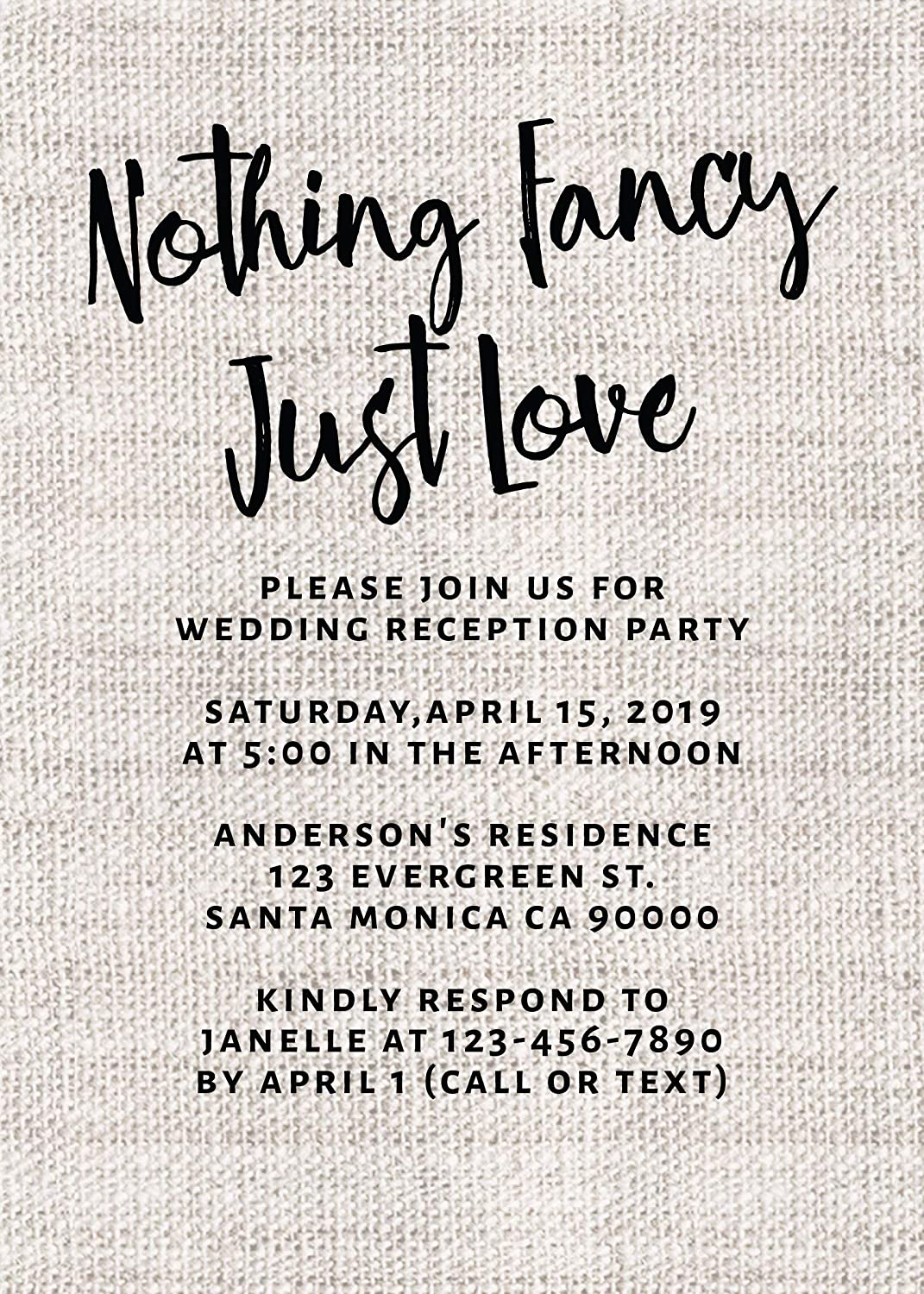 Nothing Fancy Just Love Elopement Wedding Announcement Cards