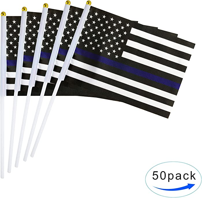 TSMD Thin Blue Line USA American Police Flag 50 Pack Small Mini Hand Held Honoring Law Enforcement Officers US Flags On Stick,Police Theme Party Event Decorations