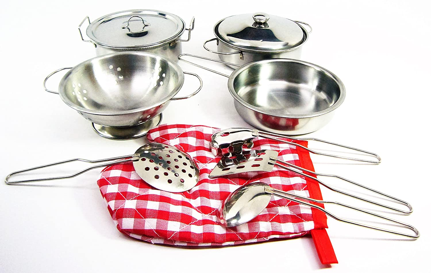 10-piece Playset Metal Pots and Pans Kitchen Cookware for Kids with Cooking Utensils Set Fatherland Shop