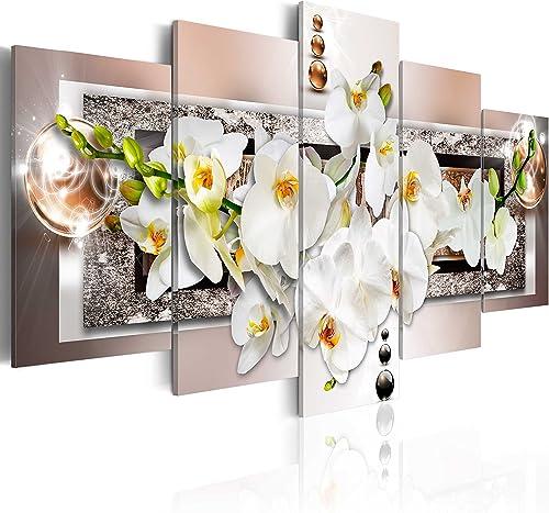 artgeist Handart Canvas Wall Art Flowers Orchid 225×112 cm / 88.58″x44.3″ 5 pcs Painting Canvas Prints Picture Artwork Image Framed Contemporary Modern Photo Wall Home b-A-0085-b-n