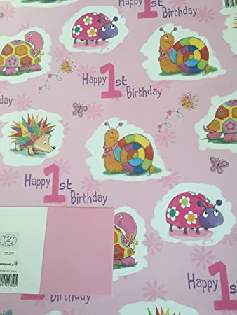Girls 1 Happy 1st Birthday Gift Wrapping Paper 2 Sheets Tag Amazoncouk Office Products