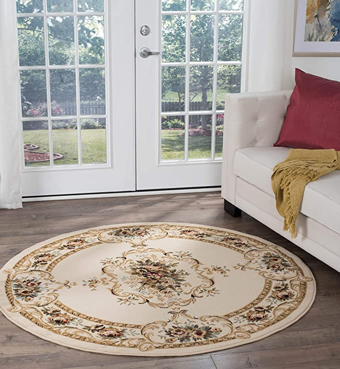 Angeline Traditional Floral Beige Round Area Rug 5 Round Furniture Decor