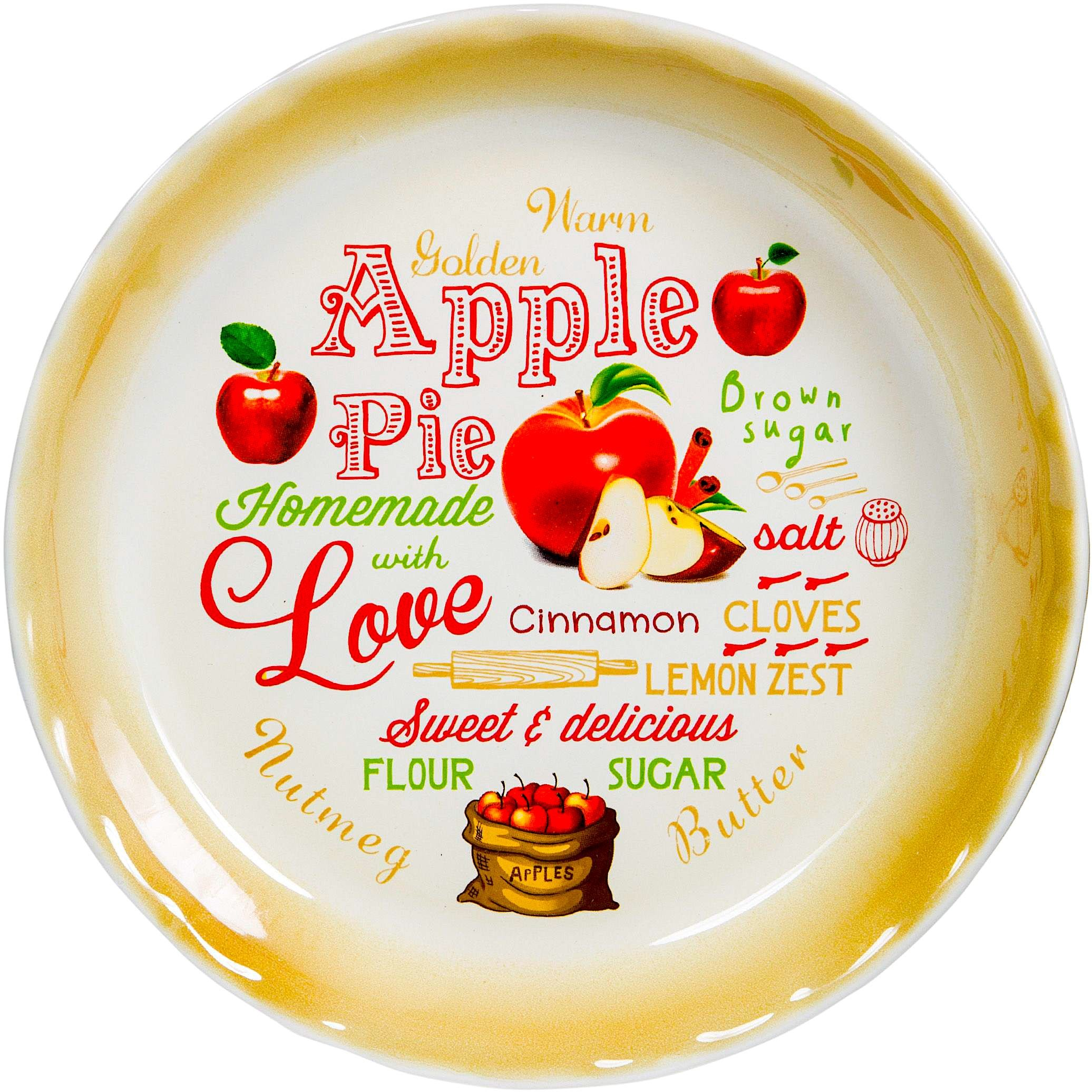 10'' Apple Pie Vintage Pie Plate Country Style Baking Dish Decorative Colorful