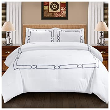 superior kensington embroidered comforter set with pillow shams luxury hotel bedding with soft microfiber shell