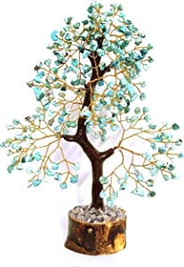 KavinTek Gemstone Tree of Life Feng Shui Crystal Healing Stones Good Luck Stone Buddha Statue Reiki Crystals Sculpture Home Decor Prosperity Handmade Spiritual Gift 10-12 Inch (Turquoise Golden Wire)