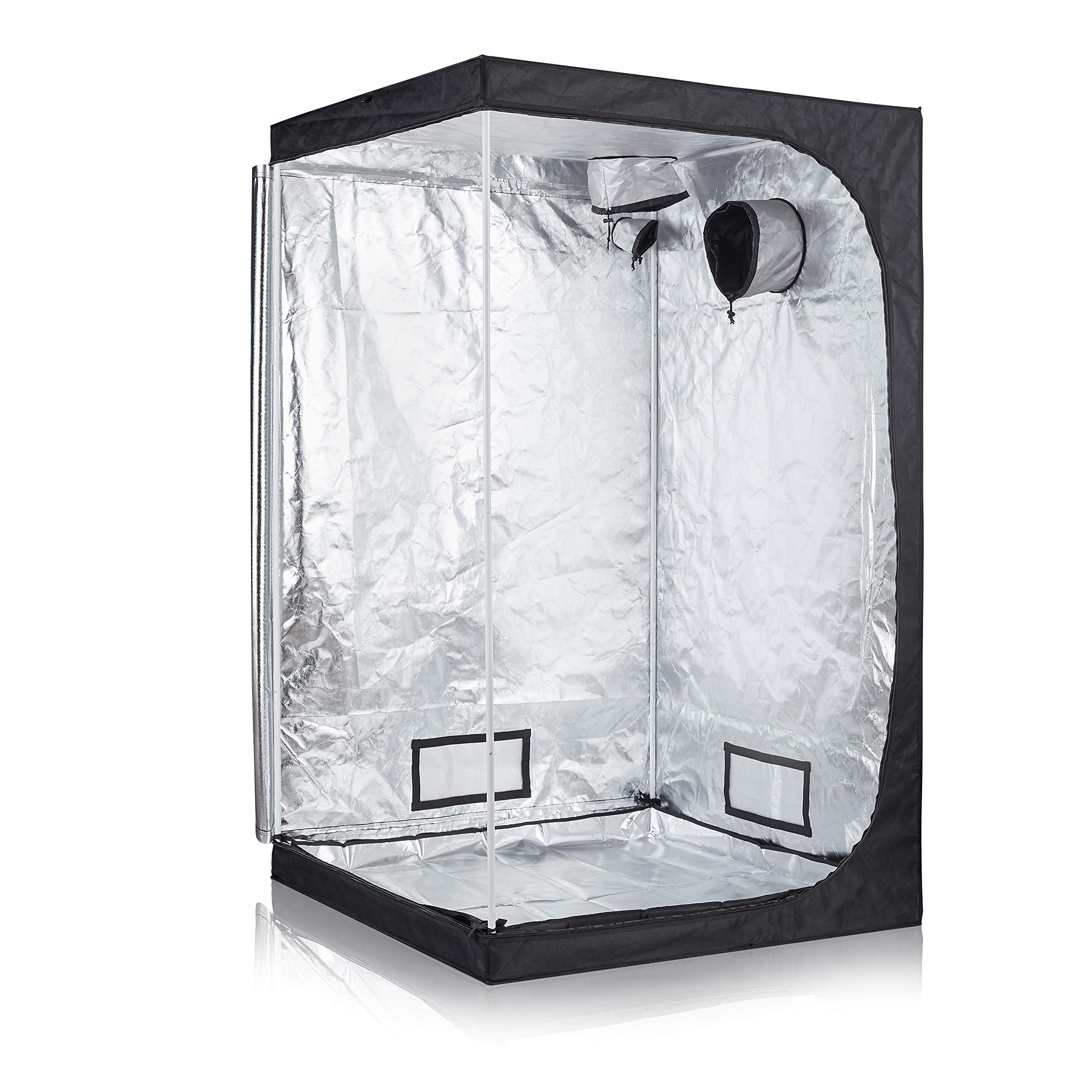 GreenHouser Garden Grow Tent High Reflection Room Grow Box for Indoor Fruit Flower and Veg Planting with Plastic Connections/Removable Water-Proof Floor Tray (48''x48''x80'')