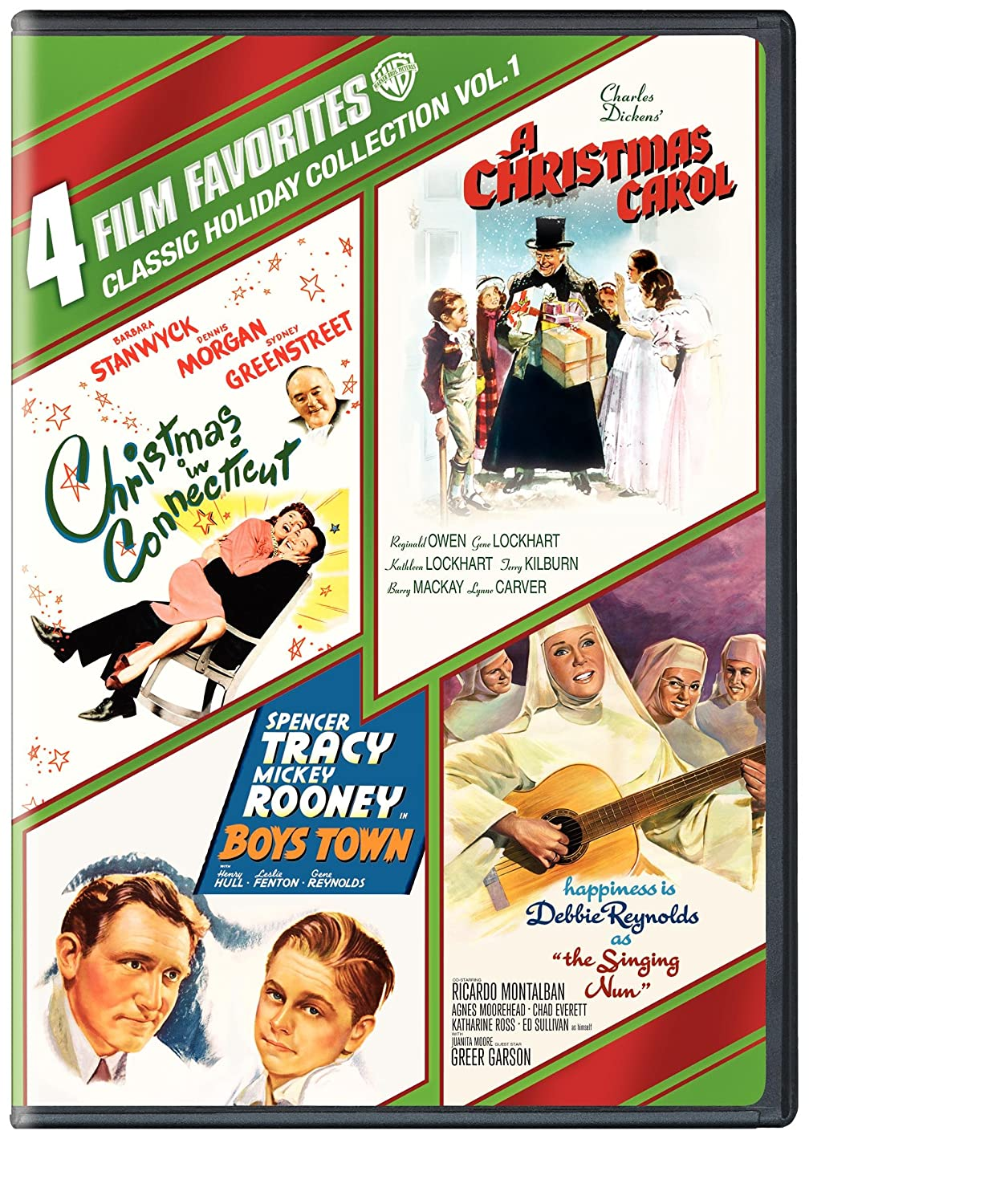 4 Film Favorites: Classic Holiday - Volume 1 (Boys Town / A Christmas Carol / Christmas in Connecticut / The Singing Nun)
