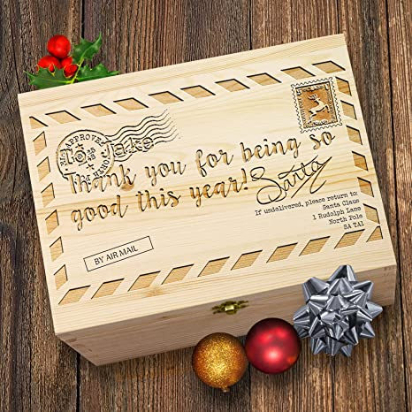 Carta de Navidad Vintage de Navidad personalizado de madera grabado caja
