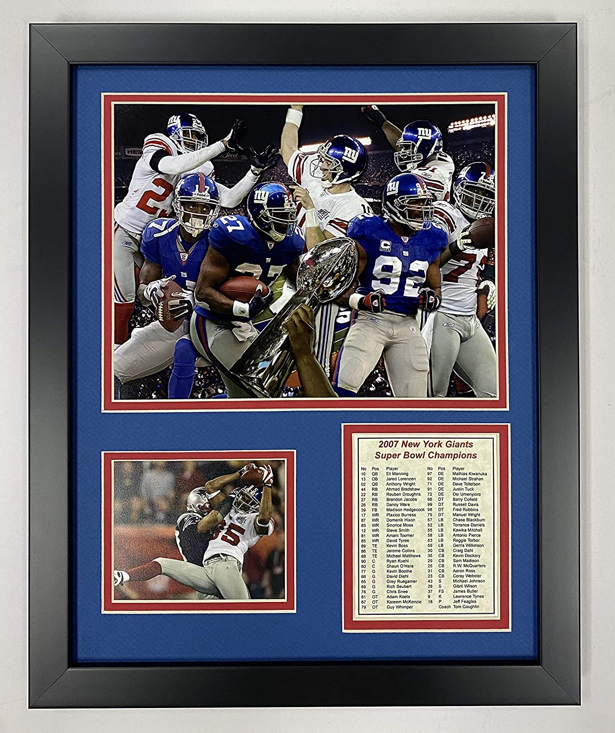 """2007 New York Giants Champions 11"""" x 14"""" Framed Photo Collage by Legends Never Die, Inc."""