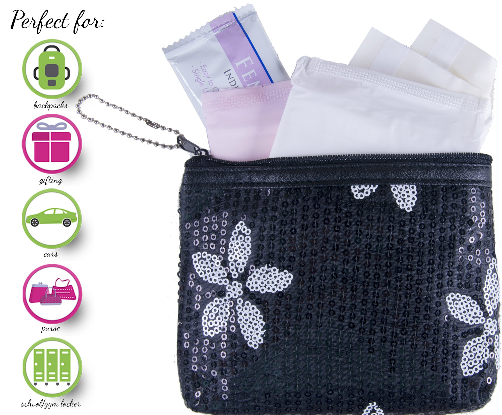 Menstruation Kit - First Period Kit To-go! (Period Starter Kit with all Natural Pads) (Black)