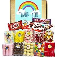 Cesta Thank You, Lote de Dulces, Golosinas y Chocolate. Caja con Nubes de Colores, Ositos Haribo, Jelly Beans, Kinder…