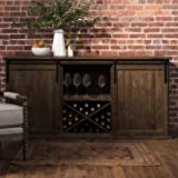 Mesa Sliding Barn Door Credenza With Two Wine