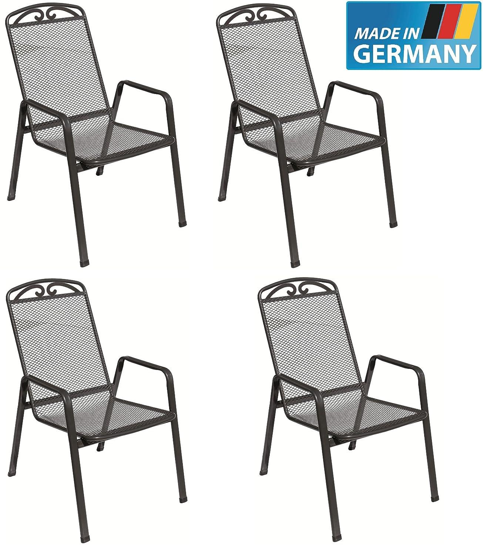 4 x Streckmetall Stapelsessel Traunstein - Snail, MADE IN GERMANY, TÜV, GS und Gastro geprüft von MFG