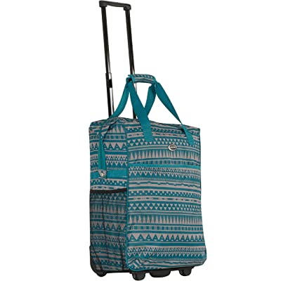 CalPak Big Eazy Bright Check 20-inch Rolling Shopping Tote Bag