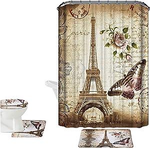 Amagical Brown Paris Eiffel Tower 16 Piece Bathroom Mat Set Shower Curtain Set Non Slip Bath Mat + Contour Mat + Toilet Cover + Shower Curtain + 12 Hooks (Brown Paris Tower)